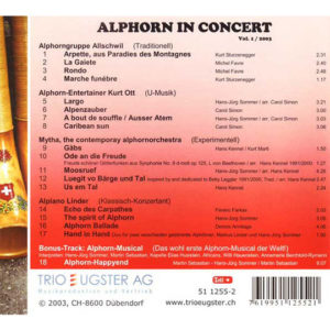 Alphorn in Concert (2003) Vol. I: Rückseite