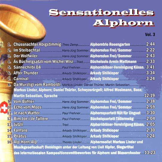 Sensationelles Alphorn (2005) Vol. III: Rückseite