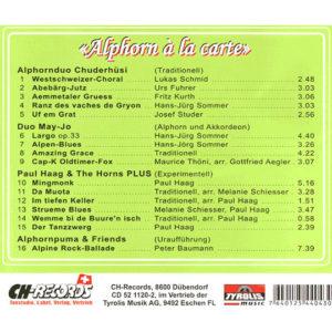 «Alphorn A LA CARTE» (2008) Vol. VI (Rückseite)